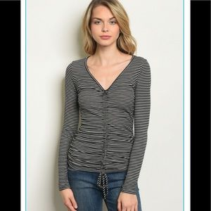 Striped ruched front tie top ( COMING )